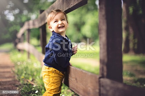 istock Portrait of cute baby boy laughing 522459960