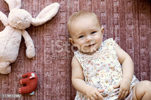 Directly above view of cute baby girl lying on carpet. Portrait of female toddler is by stuffed toy animals. She is wearing floral dress in living room.
