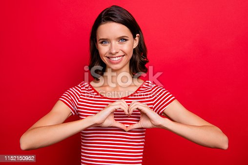 Portrait of cute charming nice sweet youth millennial want date show relationships tender support care feel satisfied glad peaceful content wear modern fashionable outfit isolated bright background.
