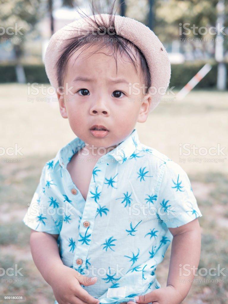 黒い目と夏の日の鈍い式かわいい中国の子供の肖像画 - 1人のストック