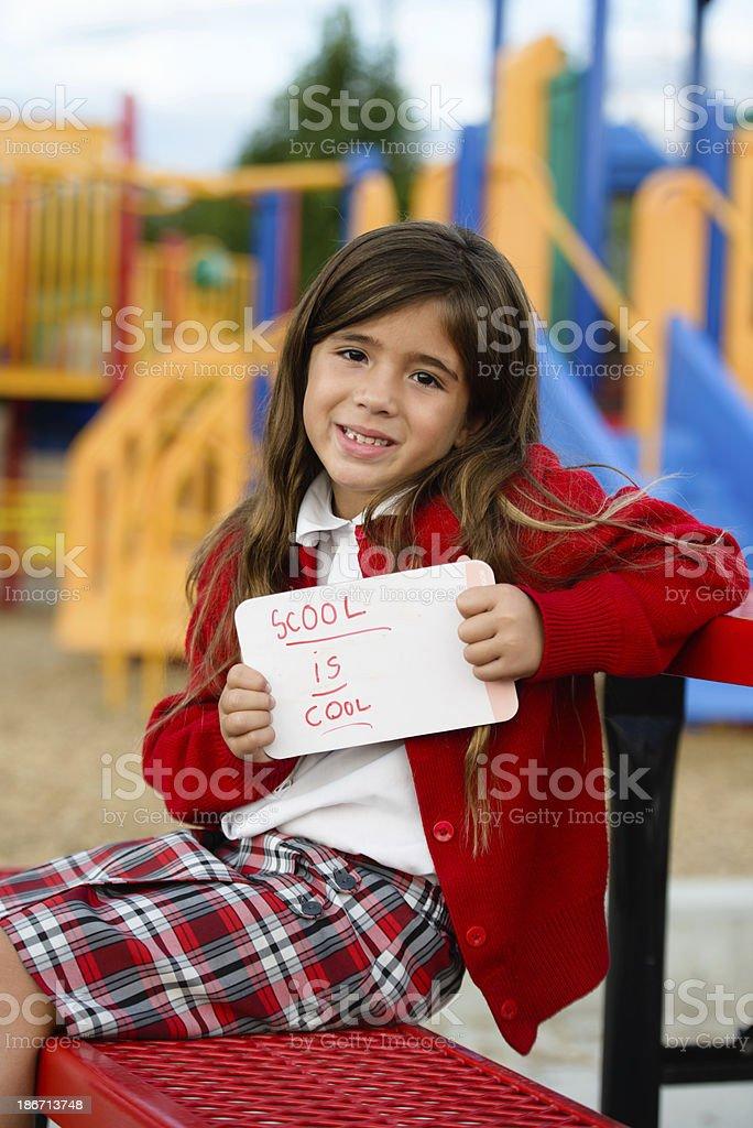 Portrait of Cute Girl Who Loves School stock photo