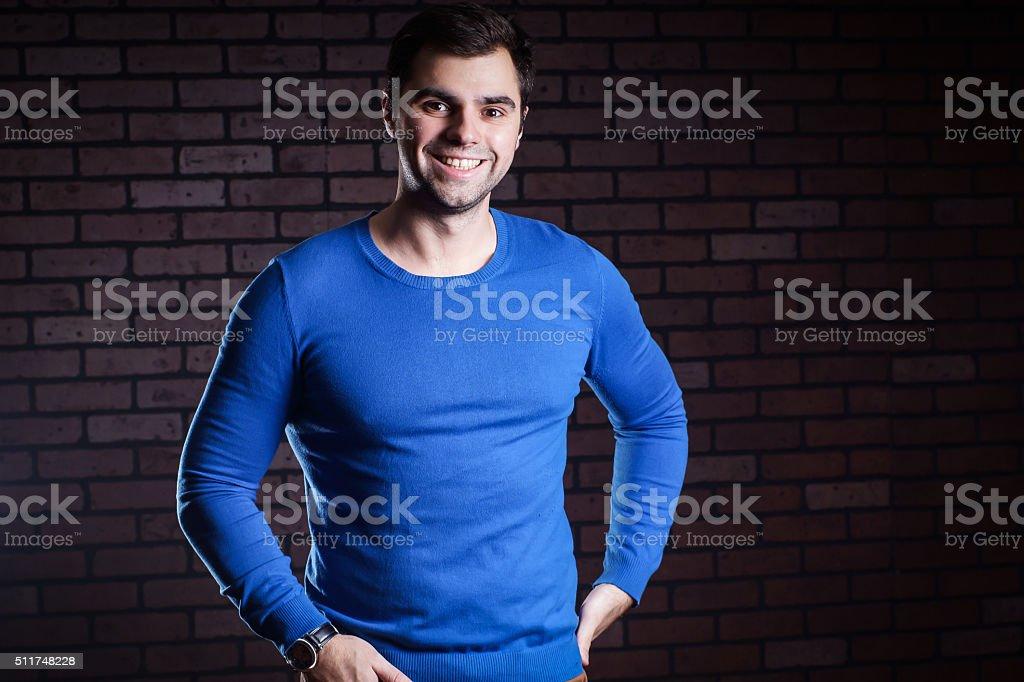 portrait of cute guy stock photo
