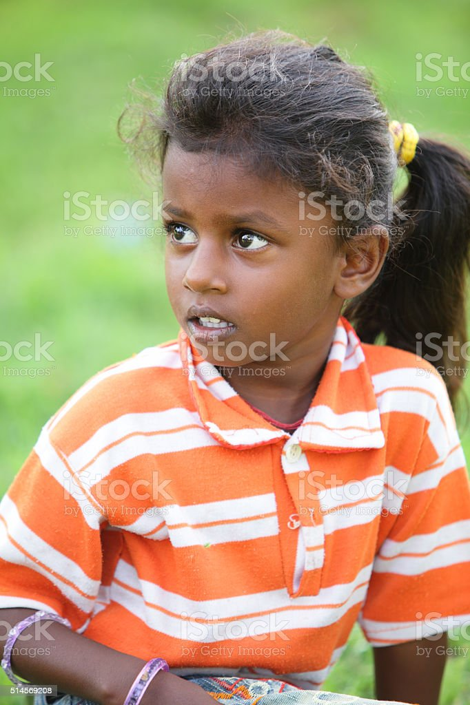 Portrait of cute Indian little girl stock photo