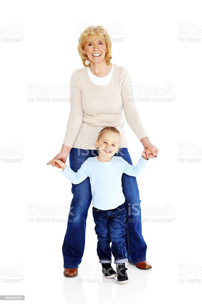 Portrait of cute little boy with his grandmother royalty-free stock photo