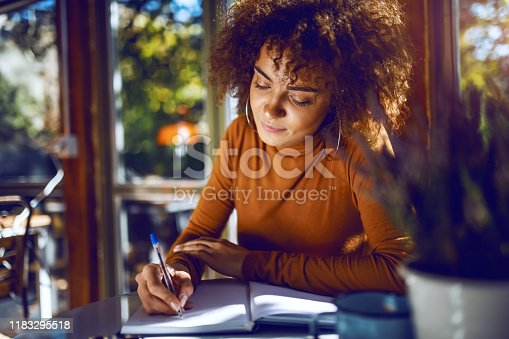 Portrait of cute mixed race student with curly hair and in turtleneck sitting in cafe and studying for exams.