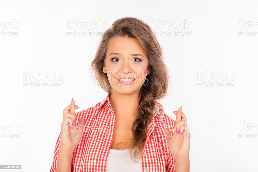 Portrait of cute woman waiting for special moment stock photo