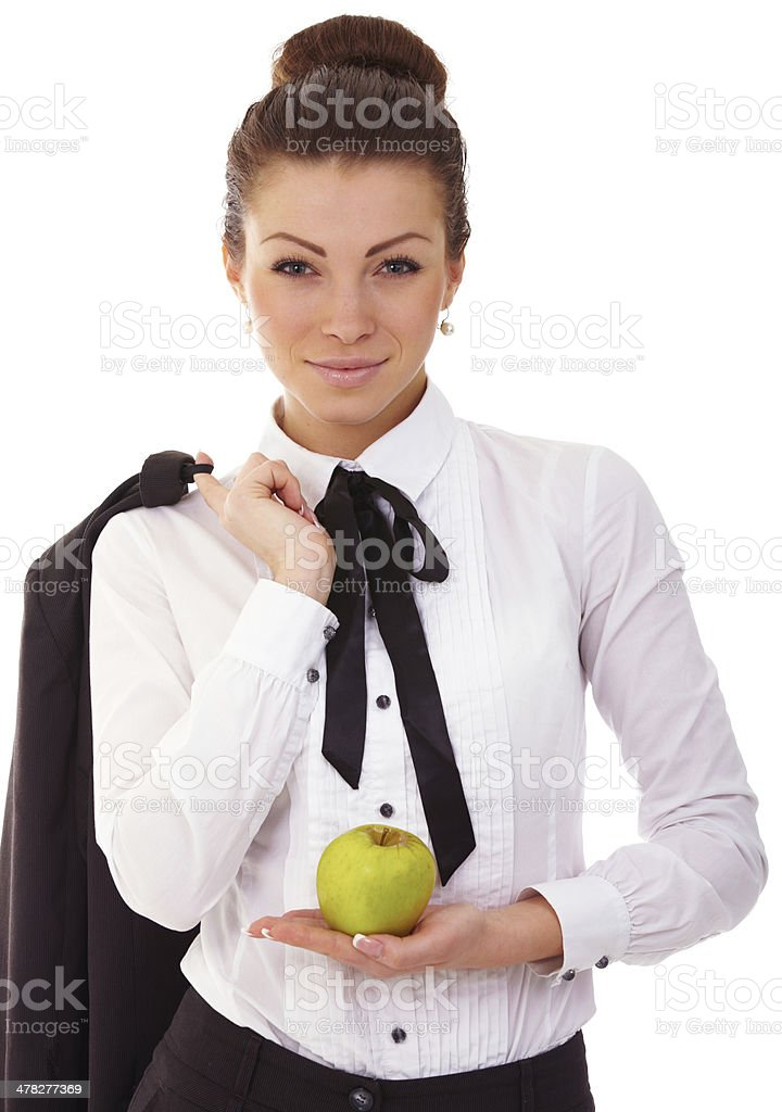 Portrait of cute young business woman with apple royalty-free stock photo