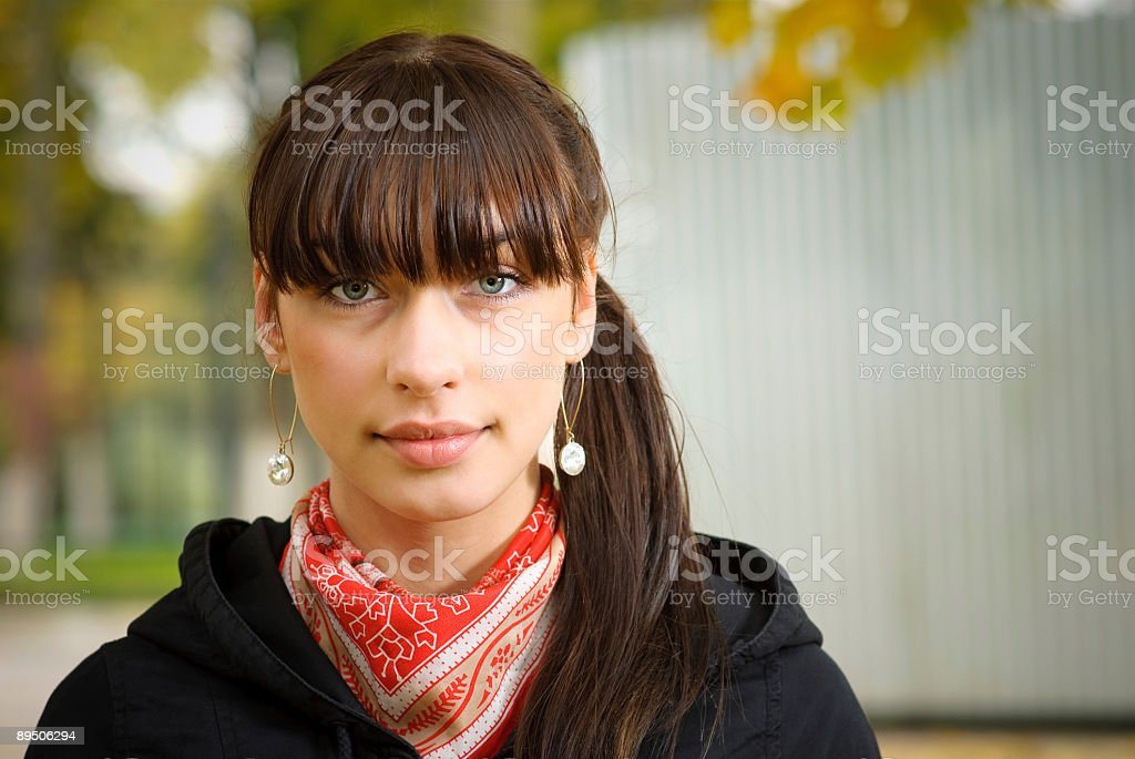 Portrait of dark-haired girl royalty-free stock photo