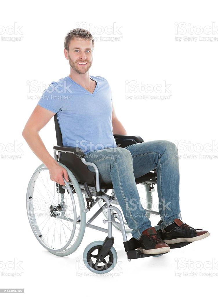 Portrait Of Disabled Man On Wheelchair Full length portrait of disabled man on wheelchair over white background Adult Stock Photo