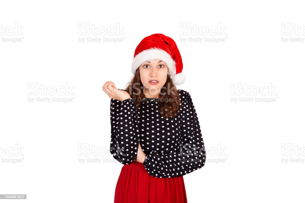b2b51e896fb07 Portrait of disappointed pissed cute female in dress. emotional girl in  santa claus christmas hat isolated on white background. holiday concept -  Stock ...