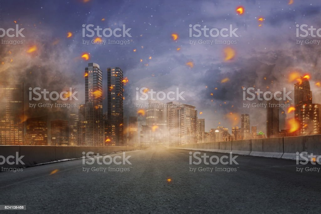 Portrait of disaster with fires and debris stock photo