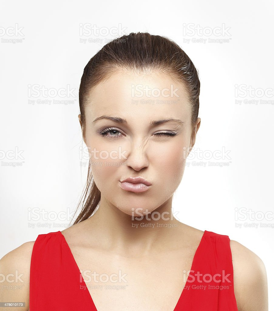 Portrait of disgusted young woman making a face. royalty-free stock photo