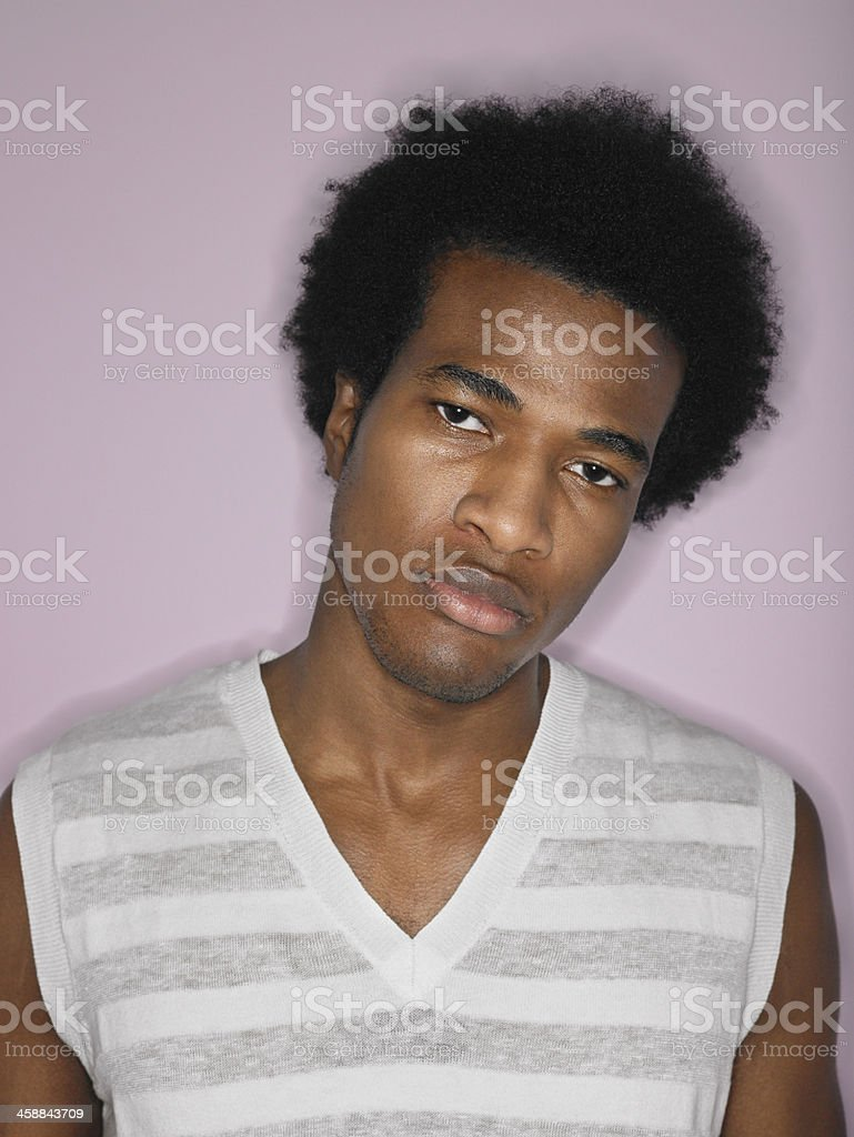 Portrait Of Displeased Afro Young Man royalty-free stock photo