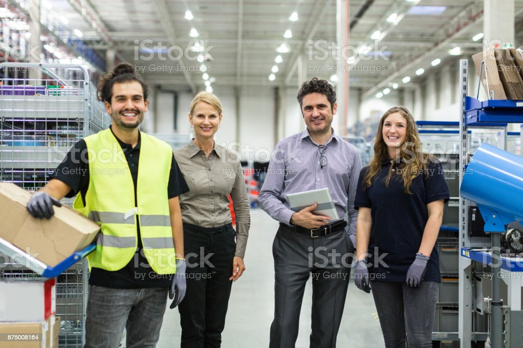 Portrait of distribution warehouse team stock photo