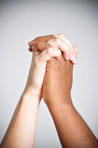 Portrait of Diverse Hands Different Races stock photo