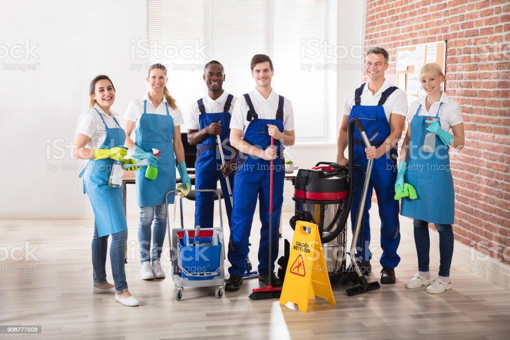 Portrait Of Diverse Janitors stock photo