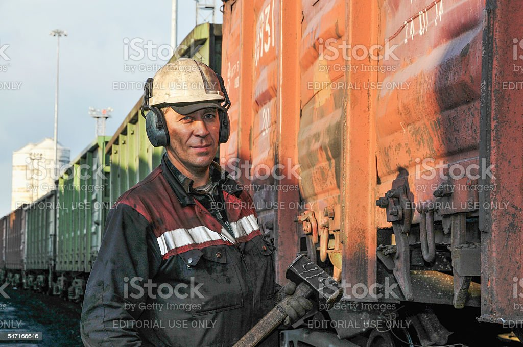 Portrait of docker  at the coal termina stock photo