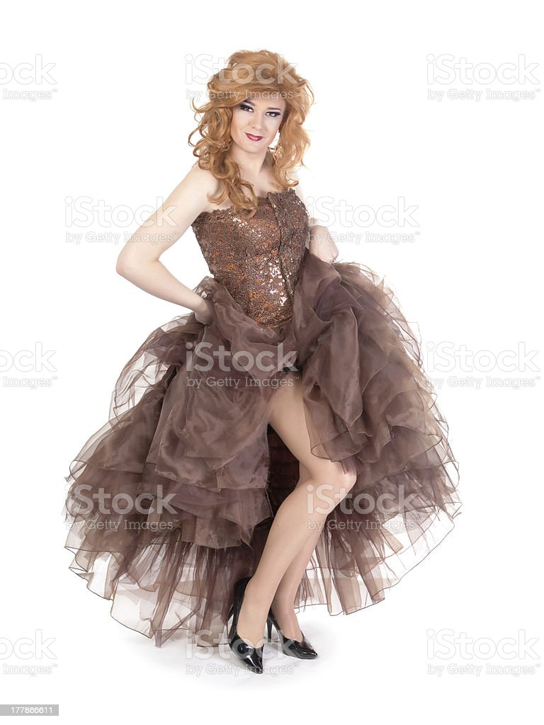 Portrait of drag queen. Man dressed as Woman stock photo