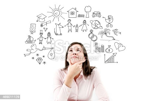 481974106istockphoto Portrait of dreaming and planing girl. 469011129