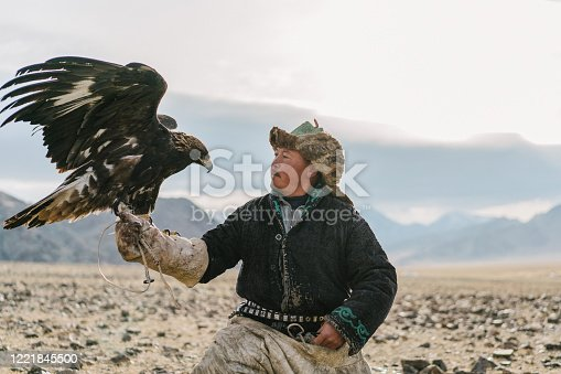 istock Portrait of eagle hunter in desert   in Mongolia 1221845500
