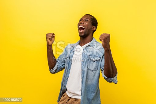 Portrait of ecstatic overjoyed handsome man in denim casual shirt expressing winning gesture with raised fists and screaming, celebrating victory. indoor studio shot isolated on yellow background