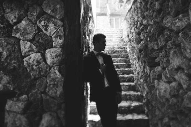 porträt des eleganten gut aussehender mann im schwarzen anzug und fliege. männliche mode-modell - hochzeitsanzug herren stock-fotos und bilder
