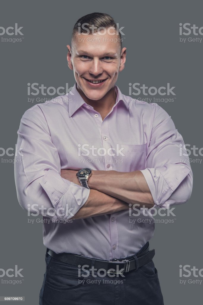 Portrait of elegant male in a shirt. stock photo