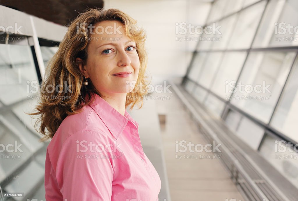 Portrait of elegant real 35 years old woman stock photo