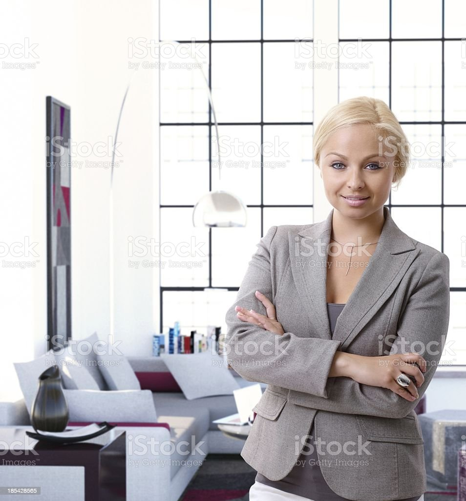 Portrait of elegant woman at luxury flat royalty-free stock photo