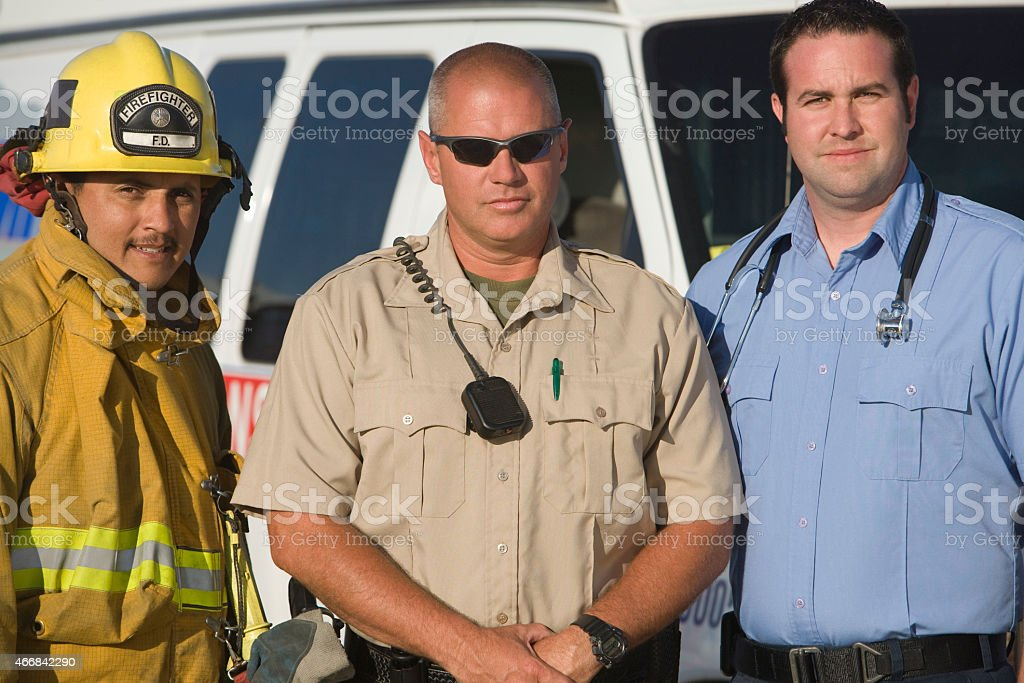 Portrait of emergency services stock photo