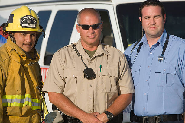 portrait of emergency services - firefighter stock photos and pictures