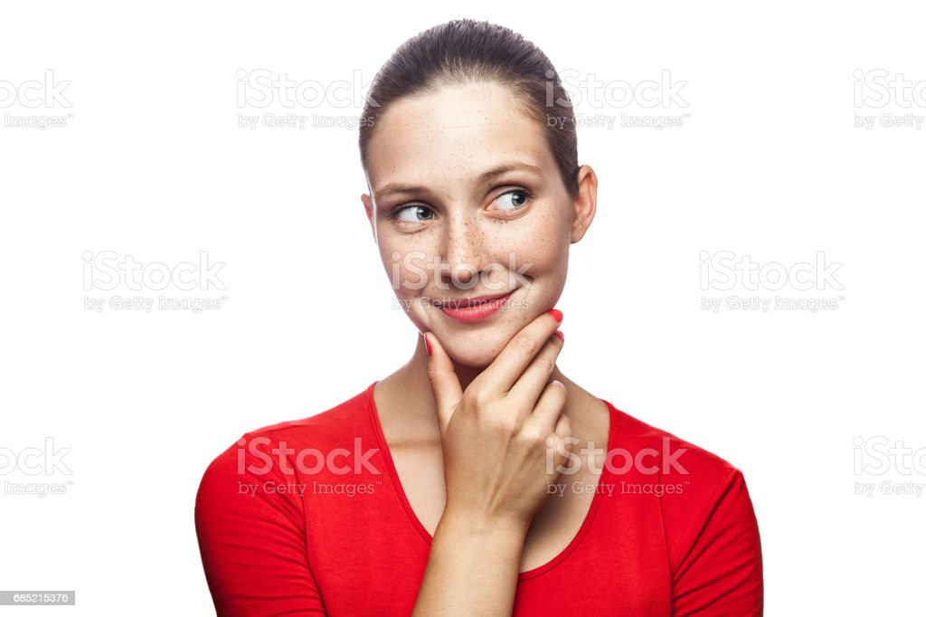 Portrait of emotional woman with freckles and red t-shirt – Foto