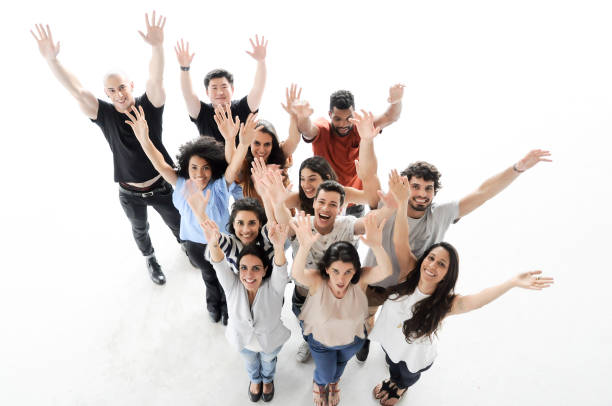 Portrait of enthusiastic business people celebrating stock photo