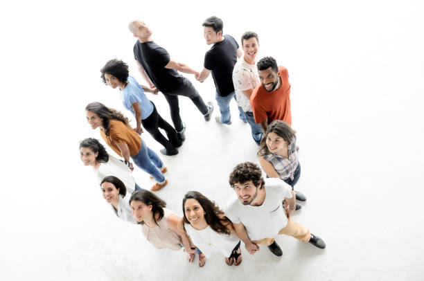 Portrait of enthusiastic business people in circle stock photo