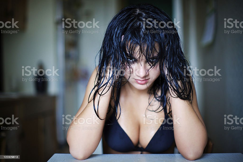 Portrait of evil, but a very sexual girl. royalty-free stock photo