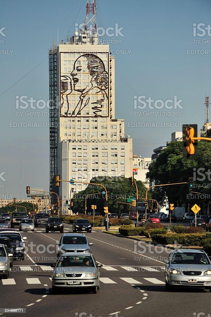portrait of Evita, 9 de Julio Avenue, Buenos Aires, Argentina stock photo