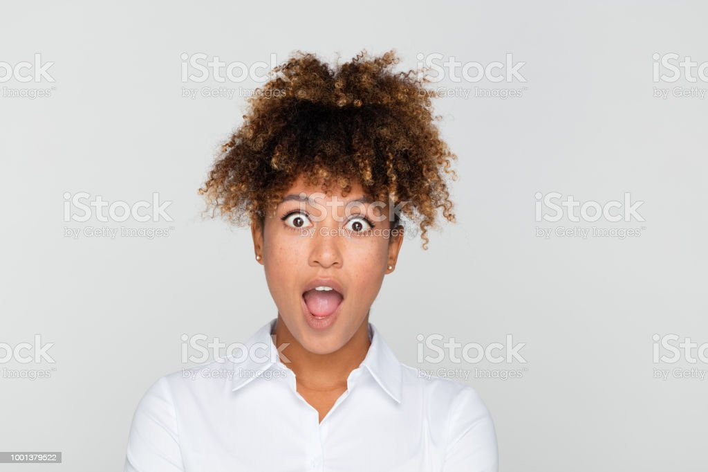 Portrait of excited afro american businesswoman stock photo