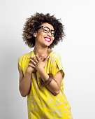 istock Portrait of excited Afro American Young Woman 475497912