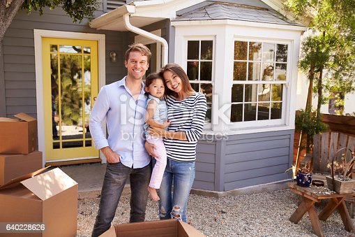 istock Portrait Of Excited Family Standing Outside New Home 640228626