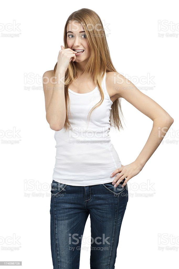 Portrait of excited young woman royalty-free stock photo