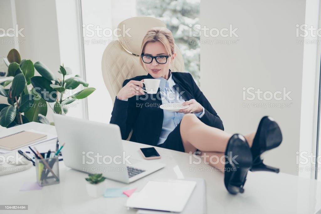 Astonishing Portrait Of Executive Corporate Woman In Eyeglasses Putting Theyellowbook Wood Chair Design Ideas Theyellowbookinfo