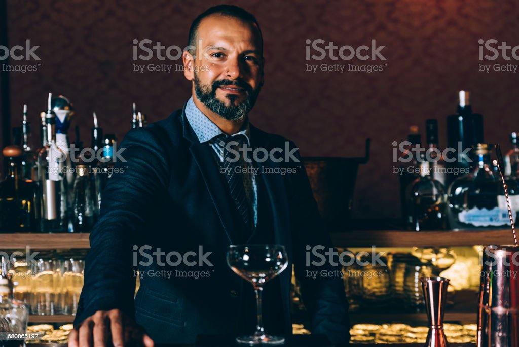 Portrait of expert barman. royalty-free stock photo