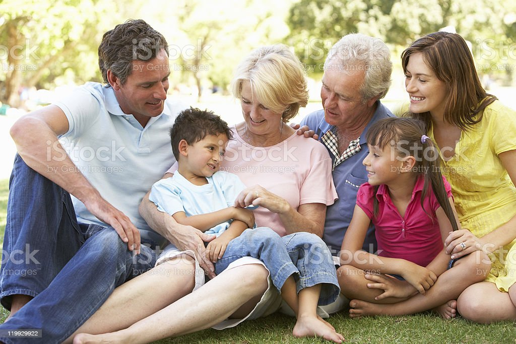 Portrait Of Extended Family Enjoying Day In Park royalty-free stock photo