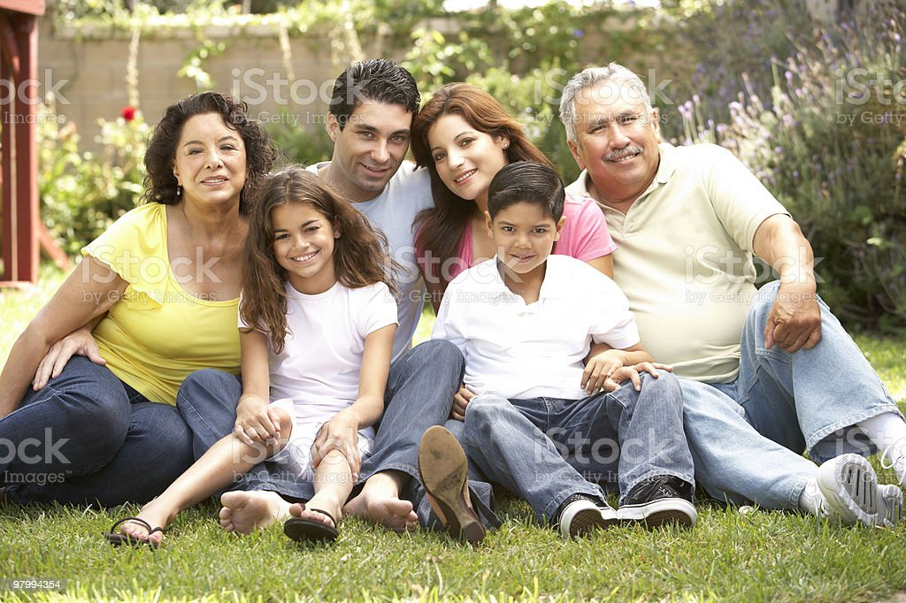 Portrait Of Extended Family Group royalty-free stock photo