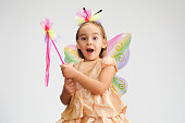 Portrait of Fairy Child Girl With Butterfly Wings