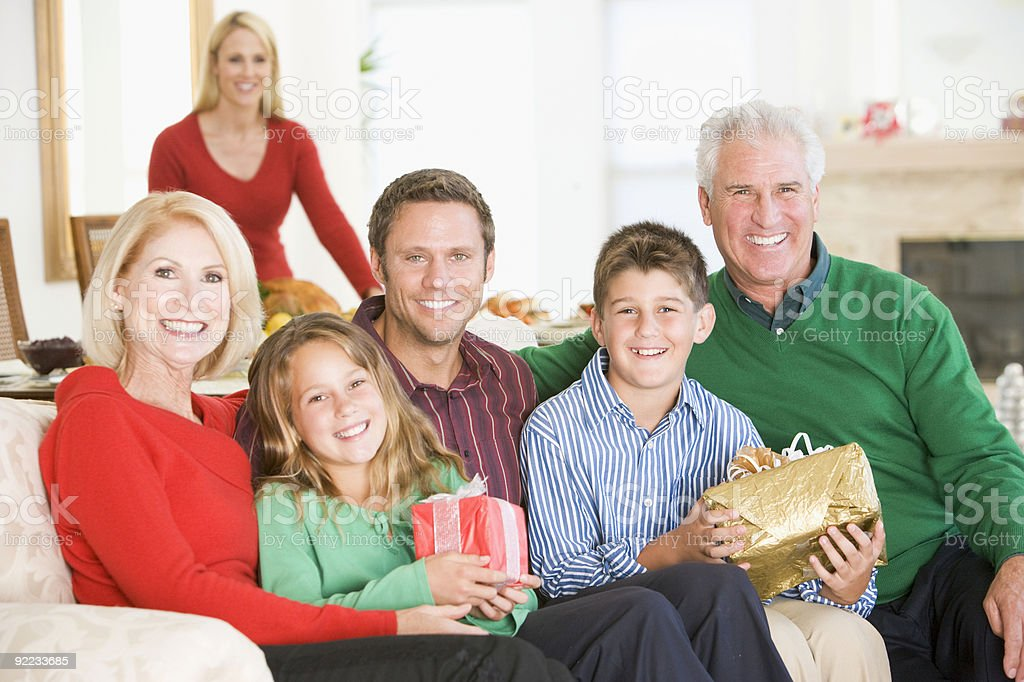 Portrait Of Family At Christmas royalty-free stock photo