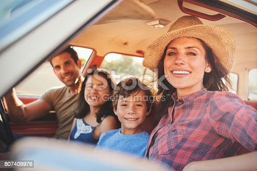 807410158 istock photo Portrait Of Family Relaxing In Car During Road Trip 807409976