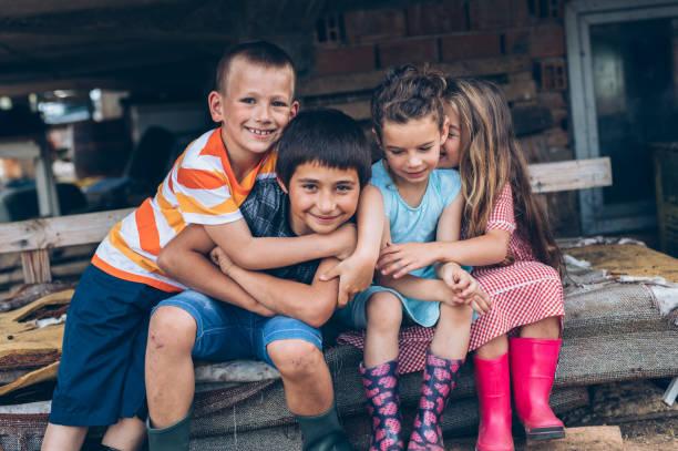 Porträt von Bauernhof Kinder – Foto