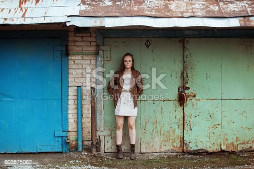 Portrait Of Fashion Model Girl On The Industrial Background Stock Photo More Pictures 1990 1999
