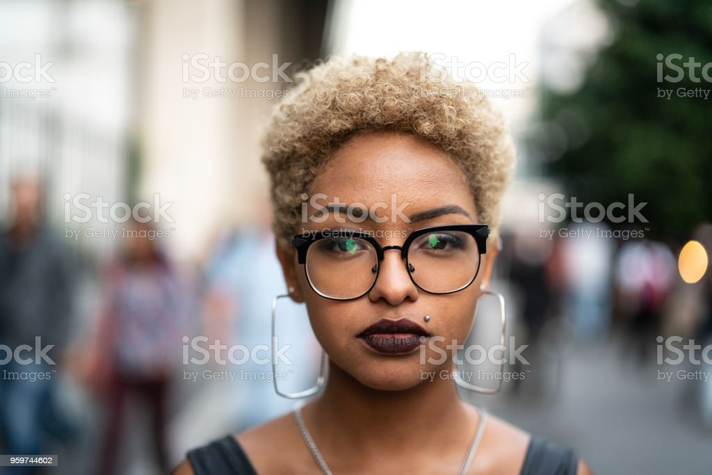 Portrait of Fashionable Woman at city stock photo